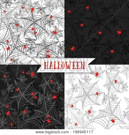 Halloween background, seamless pattern with spider Cobweb on the black and white background. Can be used for fabric textile design, for abstract holiday banners for halloween.