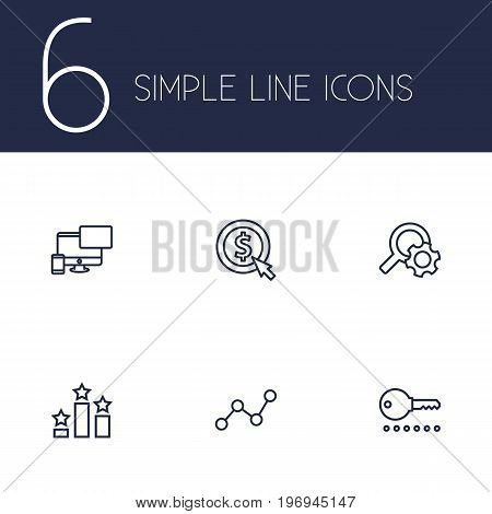Collection Of Password, SEO Test, Web Design And Other Elements.  Set Of 6 Engine Outline Icons Set.