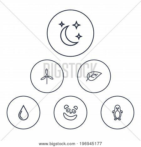 Collection Of Moon With Star, Electric Mill, Water Drop And Other Elements.  Set Of 6 Nature Outline Icons Set.
