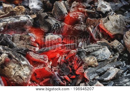 Close up of hot burning charcoals in grill