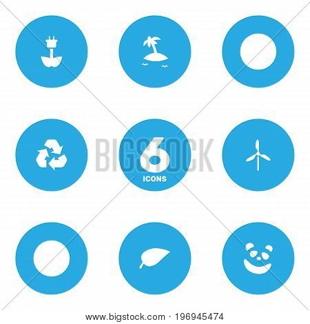 Collection Of Bear, Wind Energy, Isle Beach And Other Elements.  Set Of 6 Nature Icons Set.