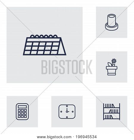 Collection Of Calendar, Bookshelf, Calculator And Other Elements.  Set Of 6 Workspace Outline Icons Set.