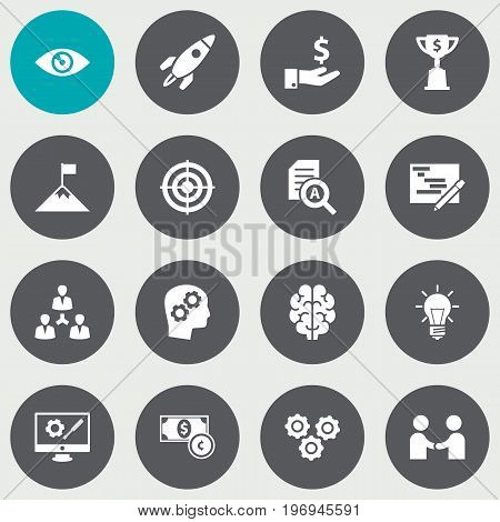 Collection Of Sponsor, Unity, Achievement And Other Elements.  Set Of 16 Business Icons Set.