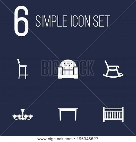 Collection Of Desk, Rocking Furniture, Chair And Other Elements.  Set Of 6 Decor Icons Set.
