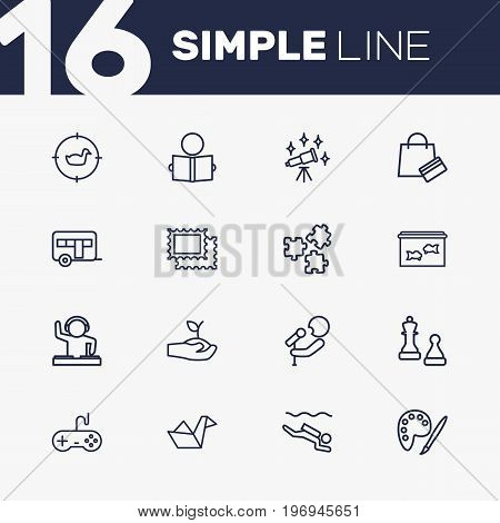 Collection Of Stamps, Astronomy, Hunting And Other Elements.  Set Of 16 Hobbie Outline Icons Set.
