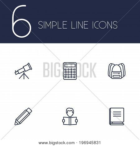 Collection Of Learning, Encyclopedia, Backpack And Other Elements.  Set Of 6 Studies Outline Icons Set.