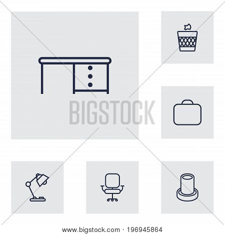 Collection Of Briefcase, Desk, Chair And Other Elements.  Set Of 6 Office Outline Icons Set.
