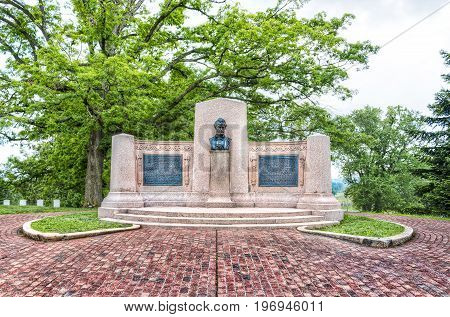 Gettysburg USA - May 24 2017: Gettysburg National Cemetery battlefield park with Lincoln memorial address and statue