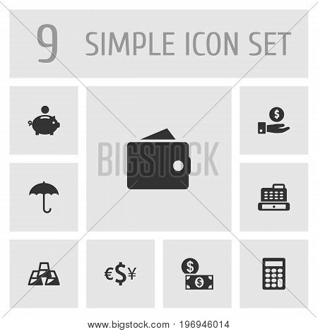 Collection Of Purse, Money, Calculate And Other Elements.  Set Of 9 Finance Icons Set.
