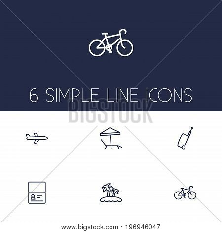 Collection Of Bike, Airplane, Certificate And Other Elements.  Set Of 6 Travel Outline Icons Set.