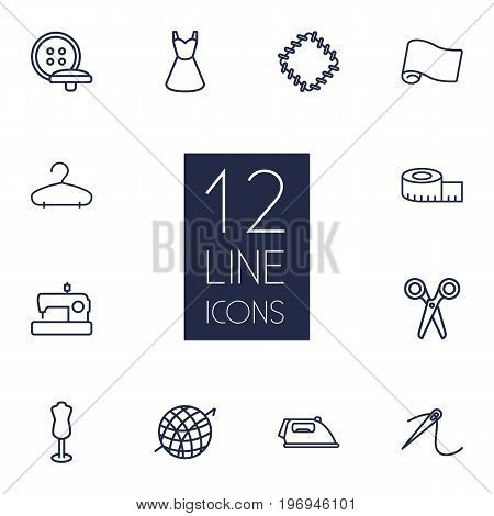 Collection Of Measuring Tape, Buttons, Crochet And Other Elements.  Set Of 12 Stitch Outline Icons Set.