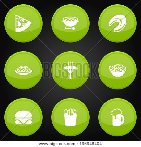 Collection Of Lettuce, Burger, Frankfurter And Other Elements.  Set Of 9 Food Icons Set.