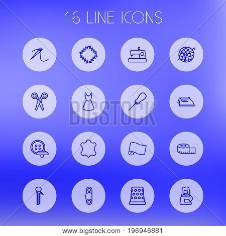 Collection Of Needle, Tailor, Crochet And Other Elements.  Set Of 16 Stitch Outline Icons Set.