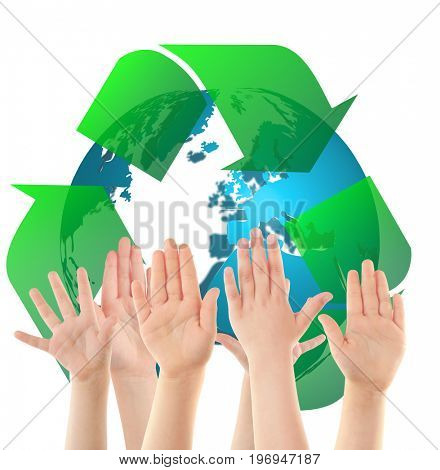Children raising hands and globe with sign of recycling on white background. Ecology and environment conservation