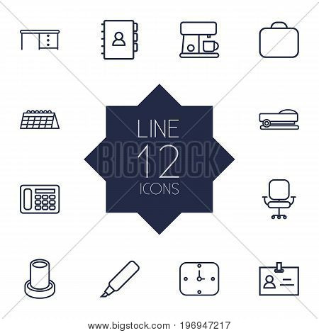Collection Of Badge Id, Chair, Calendar And Other Elements.  Set Of 12 Workspace Outline Icons Set.