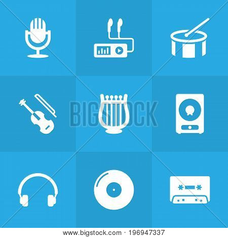 Collection Of Tambourine, Retro Disc, Lyre And Other Elements.  Set Of 9 Music Icons Set.
