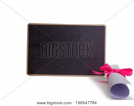 Education Diploma Black Blackboard Background Educational concept. (with free space for text)