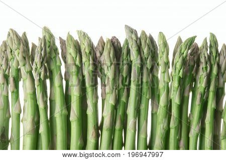 Fresh green asparagus isolated on white background