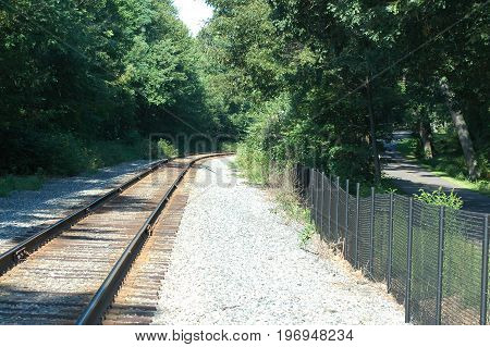 Railroad tracks running parallel to Blackstone River Bikeway