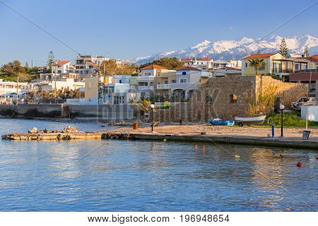Coastline of Kato Galatas town with Samaria mountains on Crete, Greece