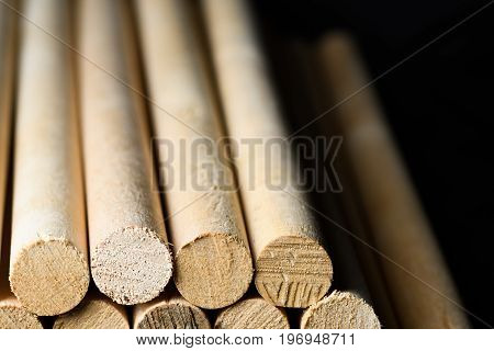 Wooden Stakes For Wall Isolated On Black Background