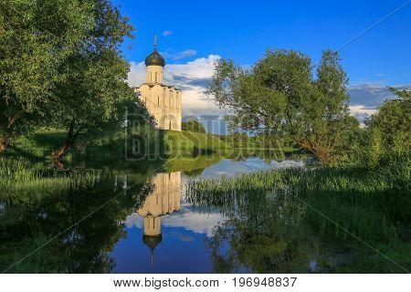 Pokrov Nerl cathedral landmark Russia Vladimir region reflections water twelve century
