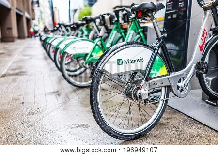 Montreal, Canada - May 26, 2017: Manuvie Bicycle Parking In City In Quebec Region In Downtown In Sid
