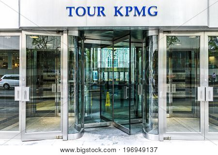 Montreal, Canada - May 26, 2017: Tour Kpmg Sign And Entrance To Building In Downtown Area Of City In