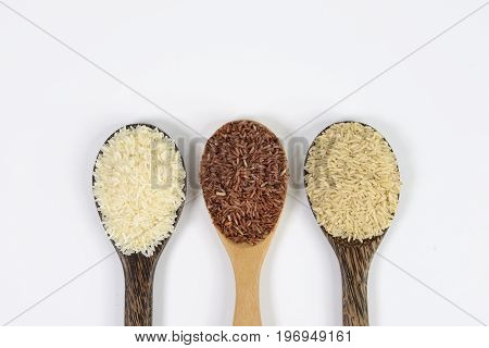 Set of rice collection on ladle isolated on white background.