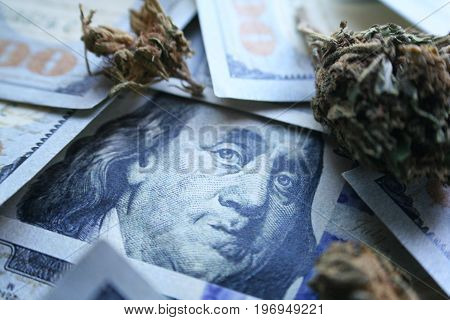 Marijuana & Money High Quality Stock Photo