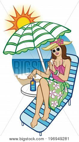 Illustration of a woman on the beach applying sunscreen to her skin.