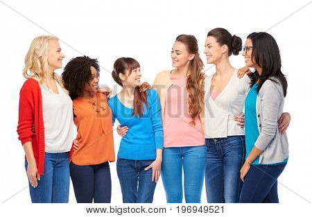 diversity, race, ethnicity and people concept - international group of happy smiling different women over white hugging