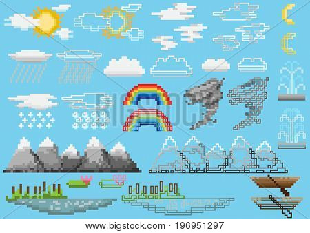 A set of pixel elements including objects of nature and atmospheric phenomena. for games and mobile applications