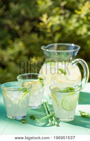 refreshing lemonade drink with mint lime lemon in garden