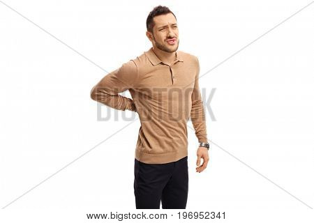 Young man suffering from back pain isolated on white background
