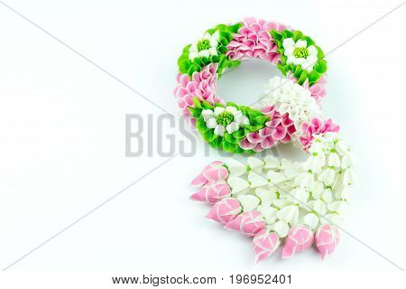 Flower garland in Thailand a symbol for Mother Day in Thailand Important dayfor pay homage to a Buddha