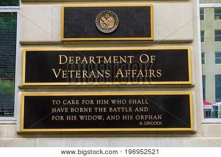 WASHINGTON, DC - JUNE 22, 2017 US Department of Veteran Affairs Washington DC. Located next to White House. Veteran Affairs go all the way back to Revolutionary War. Abraham Lincoln's quote is famous. Veteran Affairs start 1930
