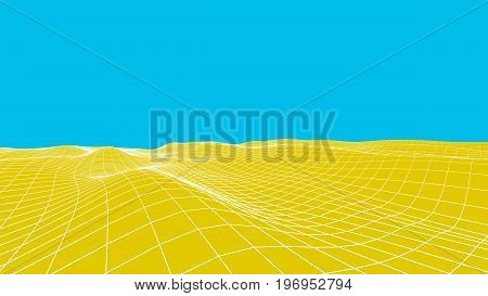 Abstract Vector Desert Background. Landscape Grid Illustration. 3D Technology Wireframe Vector. Digi