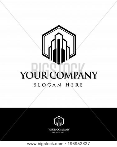 Real estate logo concept illustration. Building logo. Cityscape logo. Abstract vector logo of buildings. Skyscrapers logo. Vector logo template. Design element.