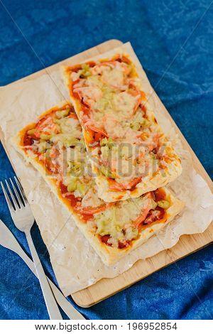 Homemade vegetarian rectangular pizza for a family dinner