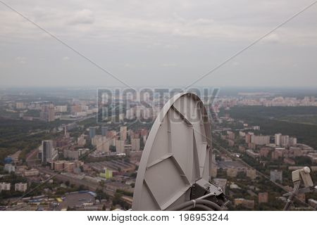 Background tv antenna installed roof view Moscow Russia
