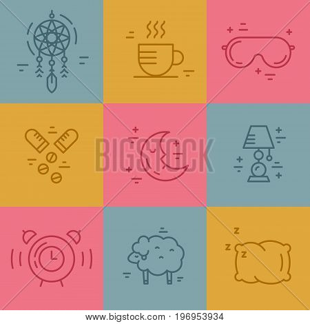 Vector line pictograms on insomnia. Sleep problems symbols.