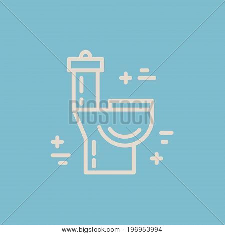 Modern line style logo for repair company or plumbing service provider with toilet. Isolated design element - text can be easily changed for your company name.