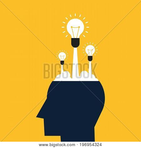 Creative idea concept flat design. Think outside the box vector illustration