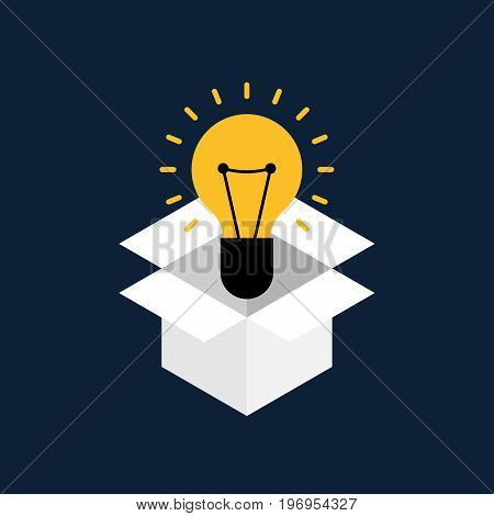 Creative idea concept flat design. Think outside the box concept vector illustration