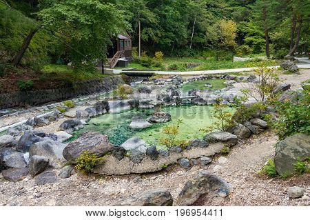 Hot Spring Pool In Kusatsu Park In Japan