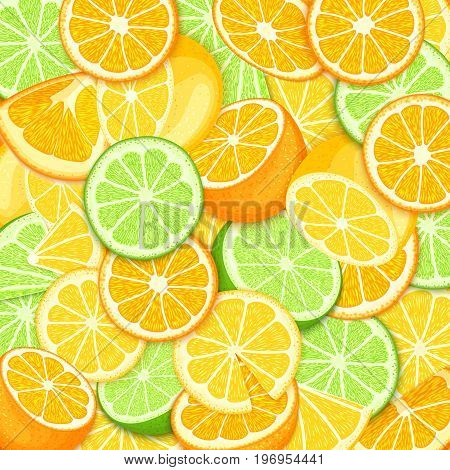 Ripe juicy tropical orange lime lemon background. Vector card illustration. Closely spaced fresh citrus orange fruit peeled, piece of half, slice. Pattern for packaging design healthy food, diet, juce.