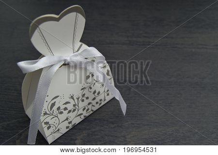 Wedding Dress Shaped Box With Almond Confetti Inside
