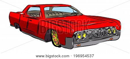 Vector illustrated cartoon american luxury car on white background.