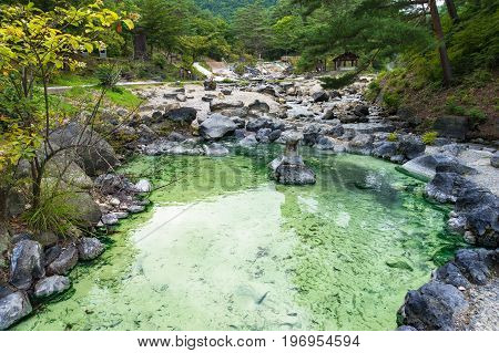 Pool With Mineral Hot Spring Water In Kusatsu Park In Japan